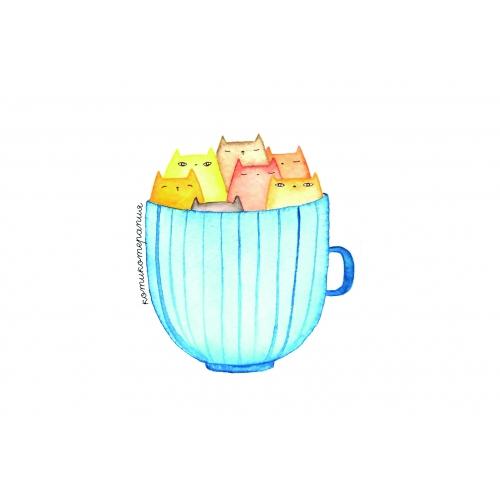 Открытка котики в чашке