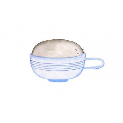 Открытка котик в чашке