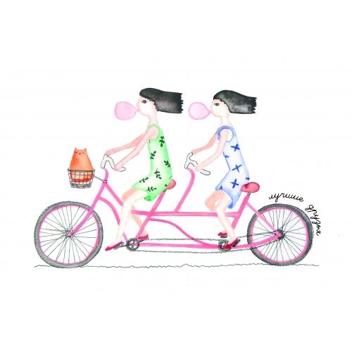 Открытка велосипедная прогулка