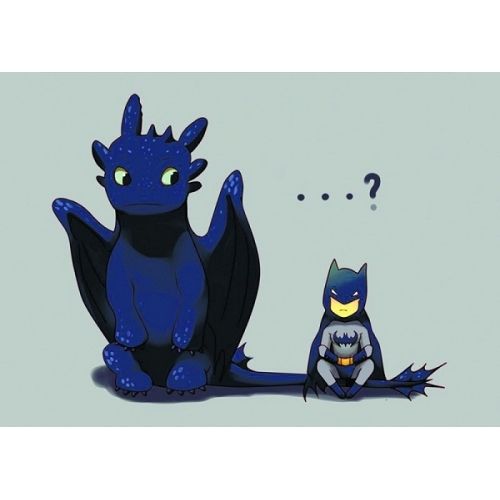 Открытка Беззубик с Бэтменом