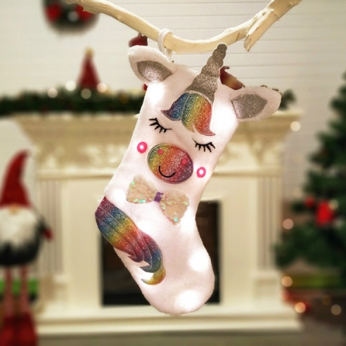 Большой Новогодний носок Единорог